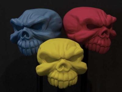 Flat Clear over coloured resin skulls