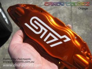 Candy ColorZ™ - Orange over Silver Flare BaZecoat™ on STI Brake Caliper